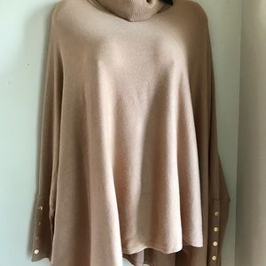 Alfani Beige Tunic Poncho Turtleneck Stretch XL